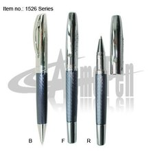 Engraving pattern ball pen and fountain pen set