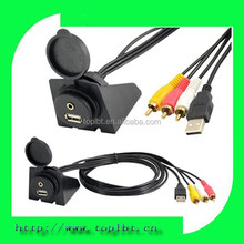 1m Car Dashboard Flush Mount USB AUX 3.5MM Port to USB 3RCA Plug Cable 3R