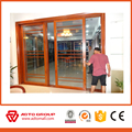 Wood color aluminium window grill design balcony sliding glass windows and doors