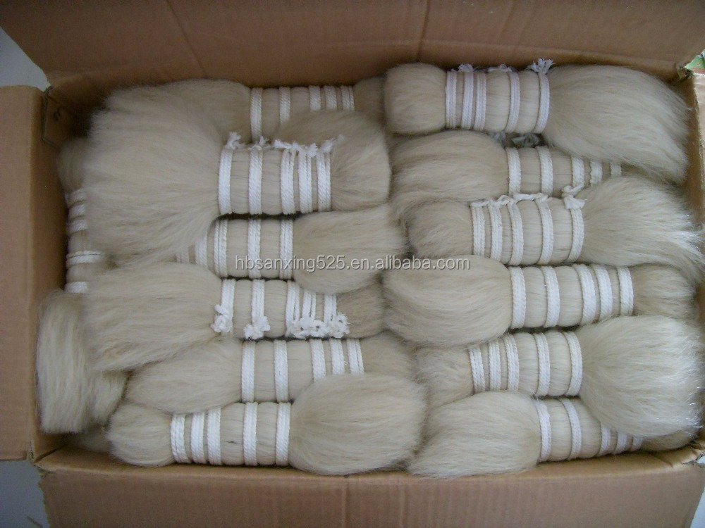 "Raw white color 8"" yak body hair for wigs"