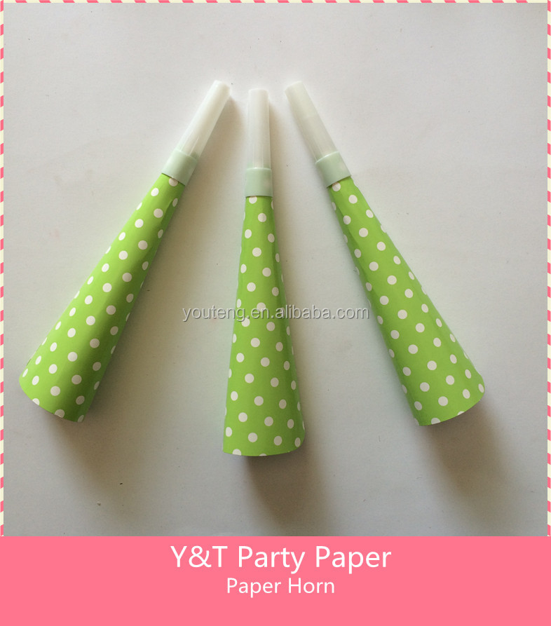 Lime Green Polka Dots Party Paper Blow Horn Party Paper Noise Makers