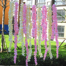 Zhuoou High Quality Decorative Artificial Hanging Flower Silk White Wisteria Garland for Wedding Decoration