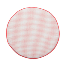 Fresh color soft round padded car seat cover check pattern 100% cotton fabric chair cushion