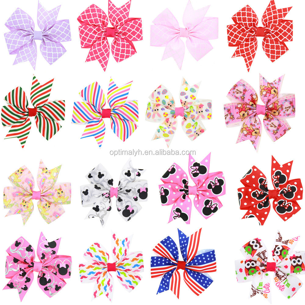 Wholesale cheap hairbow baby cute grosgrain hair bows baby hair clips Hairgrips