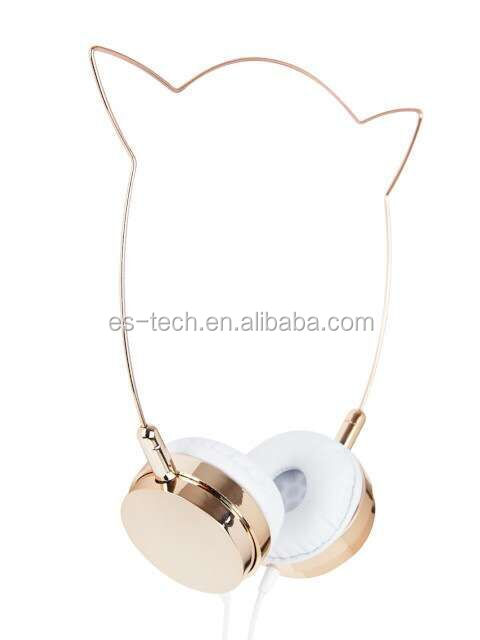 2017 Cat ear headphone , lady headphone with glitter fashionable, high end quality rose gold color