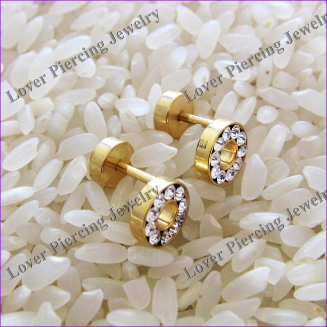 With Crystal High Polish Gold Anodized Stainless Steel Ear Fake Plug Tunnel [AS-360]