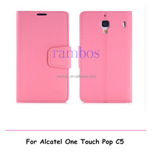 Magnetic PU Leather Wallet Phone Cover Flip Case Stand for Alcatel One Touch Pop C5 5036 OT5036 5036D
