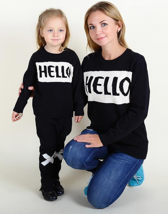 """Hello"" Style 2016 New Family Matching Outfits Autumn Winter Casual Sweater For Mother Daughter Son Family Clothe Family Set"