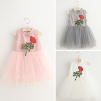 Chinese Traditional Style Baby Girl Dresses Rose Embroidered Sleeveless Kids Yarn Dresses Cotton Vestidos 2 Color Children