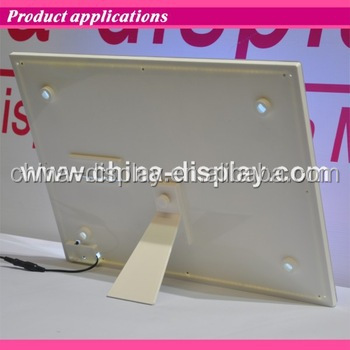 Acrylic frame desktop laser LED lighted table stand pu leather menu holder with logos