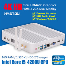 Best Fanless minicomputer Windows8.1 OS mini gaming pc with Intel Quad Core i5 - 4200u 4G RAM, 60G SSD + 160G HDD