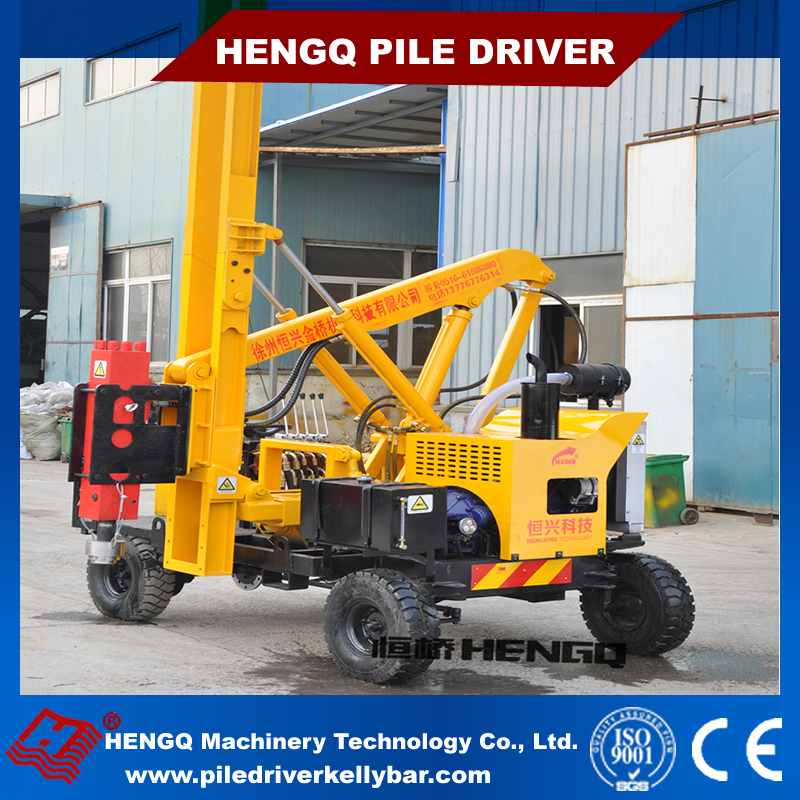 Highway security hydraulic piling rig guardrail pile driver machine