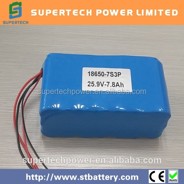 high preference factory price 18650 25.9V 7.8Ah li-ion battery and Rechargeable Battery pack for solar system