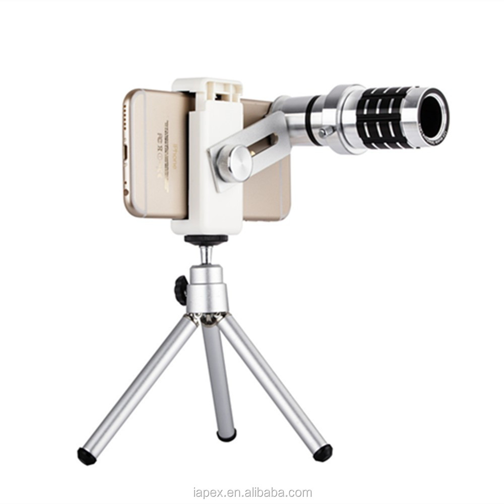 Universal Clip Camera Lens 12X Zoom Telephoto Phone Optical Lens Camera Telescope Len+Mount Tripod For All phone
