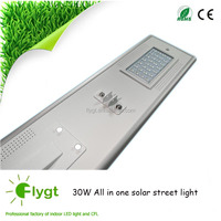 30W Motion Sensor Integrated stand alone Led Solar Street Light with Photovoltaics Panel Battery