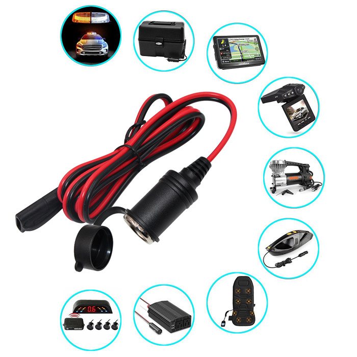 Cigarette Lighter Power 2 Pin Dc Connector 12V Plug Fuse 2A Alligator Clip To Sae Battery Cable