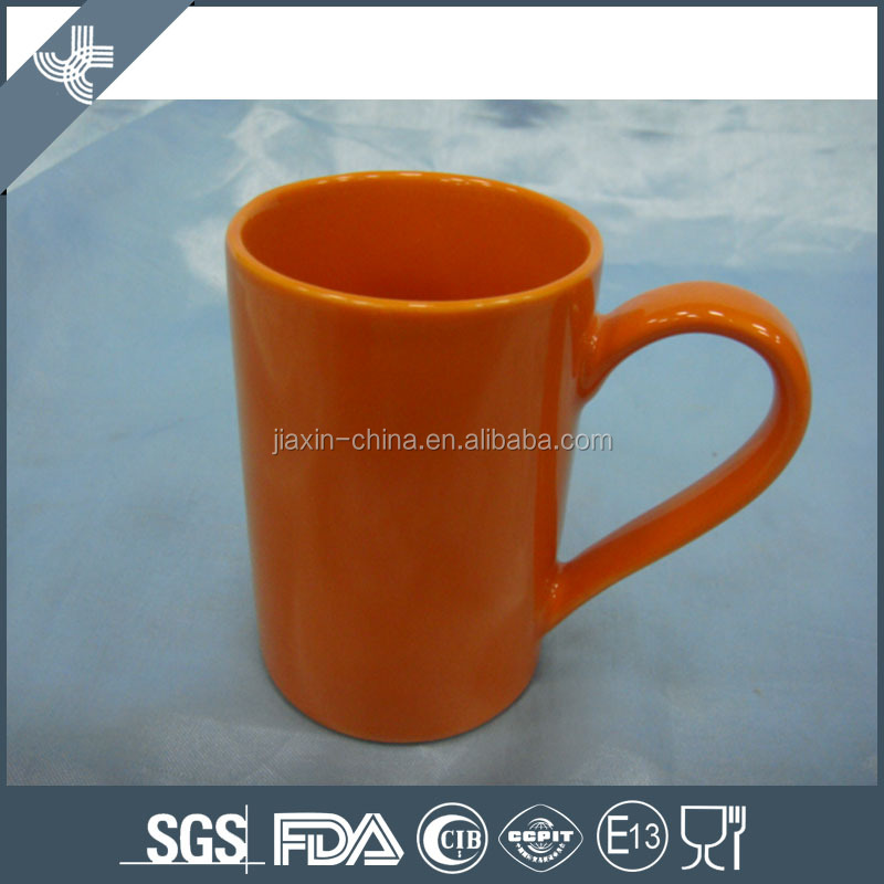 Wholesale cheap good quality fashion orange cheap porcelain office cup