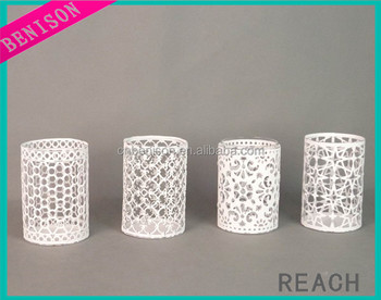 Wholesale high quality Hollow white color metal different type tealight candle holder home decoration