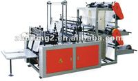 300mm width full automatic integral four line bottom-sealed flat/ vest/T-shirt plastic film bag making machine