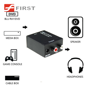 Toslink/Spdif Coax to 2 RCA Converter analog DAC with 5V power Adapter