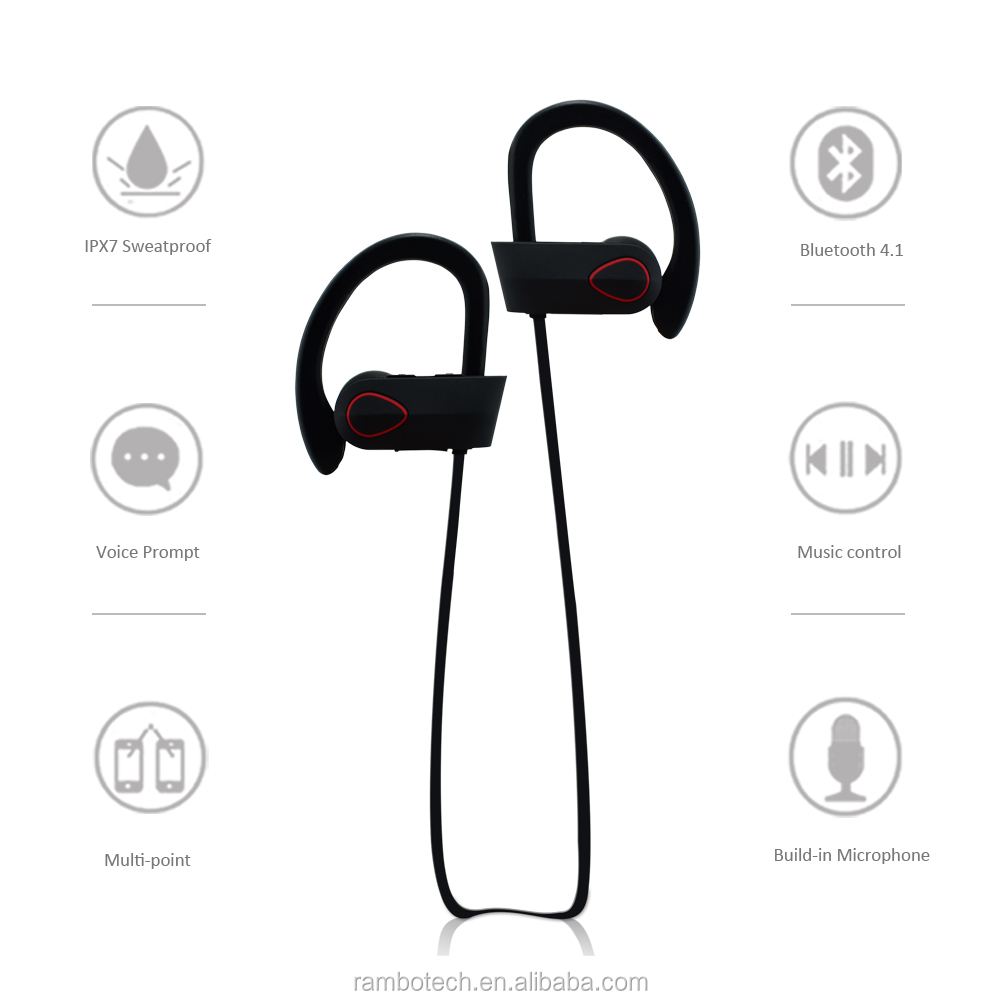 Active Noise Cancelling Ergonomic Comfort-Fit Bluetooth With Ear Hooks, Compatible For IPhone, Android RU9