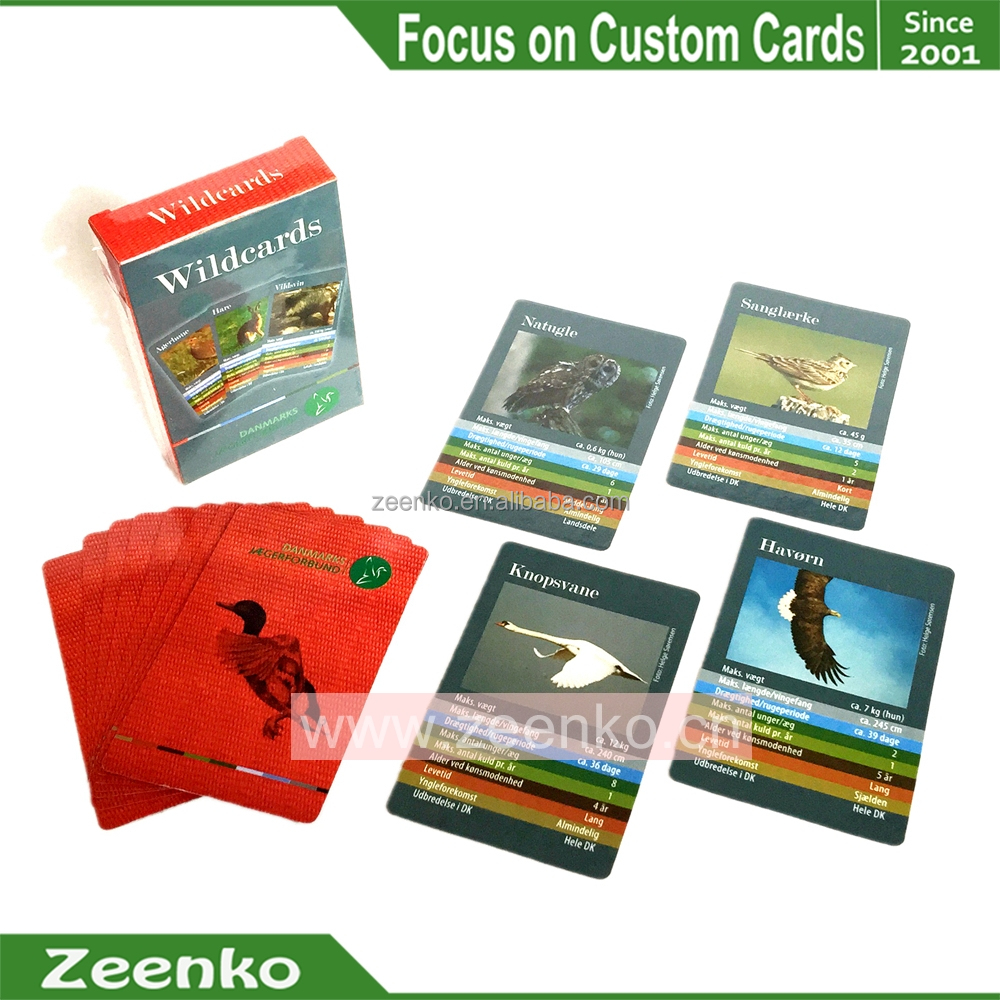 E008 CMYK Custom printed Animal Birds game cards pokemon trading card game customized playing card