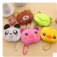 Cute cartoon environmental zipper folding polyester shopping bag with carabiner