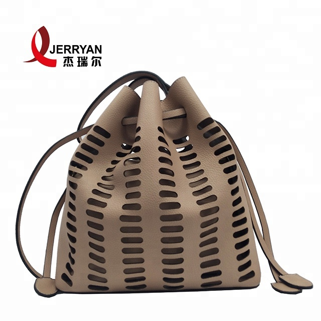 Promotional ladies bags in china women bags casual hollow side bags for  college PU leather drawstring cb2ee4eb7f65d