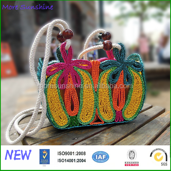 New factory wholesale straw handmade beach bag colorful character straw hobo hat
