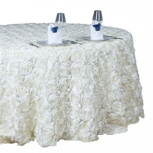 TX18052 wholesale rose satin ribbon embroidery table cloth for wedding