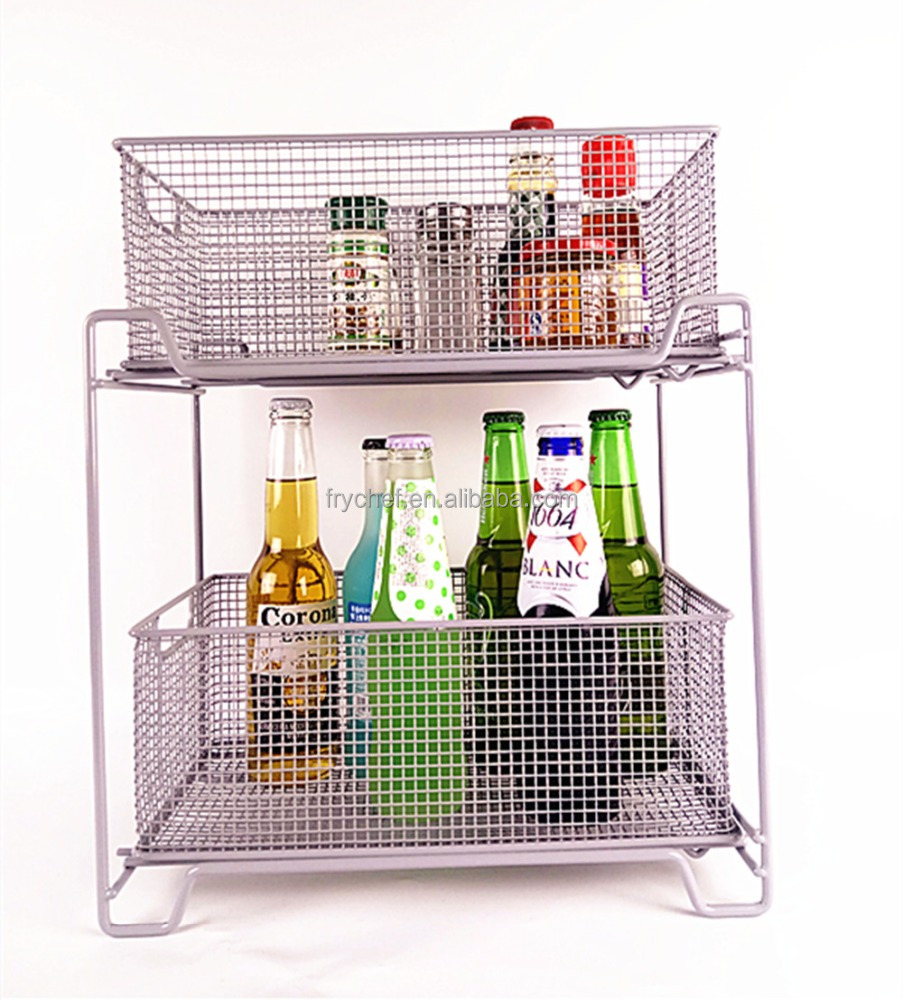 Home & Kitchen & Bathroom storage basket, Two-Tier metal storage basket F0211