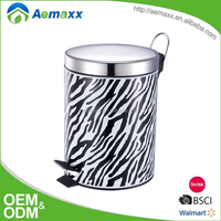Fashion series different prints available metal pedal trash can for bathroom decoration