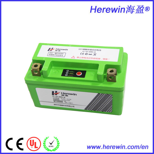 China supplier wholesale safe LiFePO4 12v rechargeable motorcycle battery with LED indicator