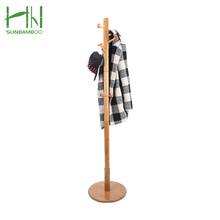 Living Room Solid Single Pole collapsible bamboo material coat rack