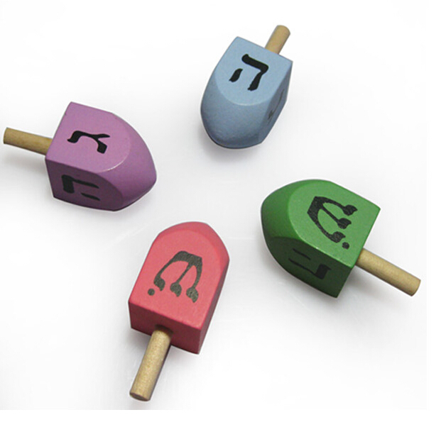 Classic Game Wooden Dreidels in assorted colors for ages 4 and up