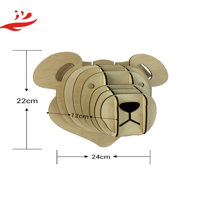 3D Wall Art Wood Teddy Bear Animal Trophy Head for Kids Home Decor