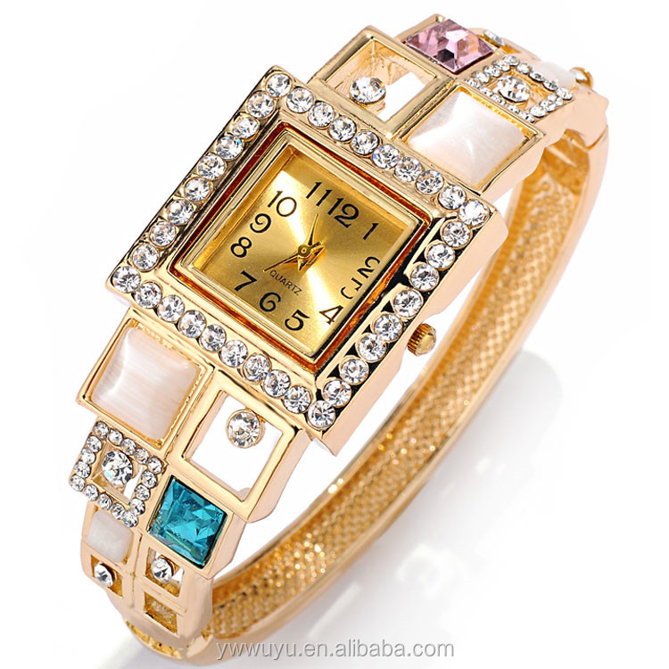 Square Analog Opal Gold Plate Quartz Ladies Watches Online Shopping