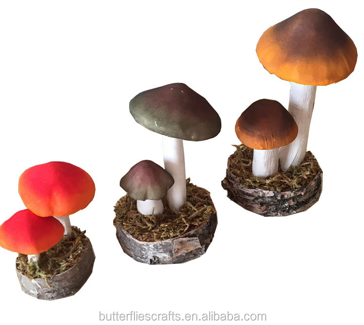 Artificial mushroom decorations for Easter