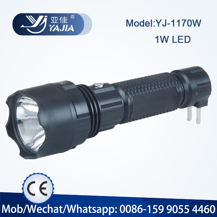 YJ-1170 rechargeable led torch with 1W led bulb