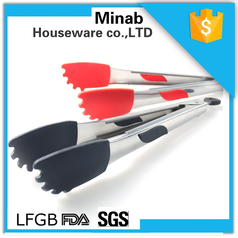 Stainless steel kitchen cooking silicone food tongs