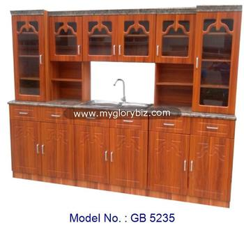 Wooden MDF + PVC Kitchen Cabinet Set With Stainless Steel Sink Indoor Malaysia For Big Cupboard Pantry Storage