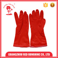 Cotton lined latex rubber household gloves