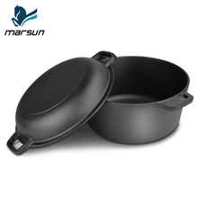 Outdoor Camping Kitchenware Set Heavy Duty Pre-seasoned Non-stick 2 In 1 Double Dutch Oven Domed Skillet Lid Cast Iron Cookware