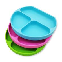 china bpa free eco friendly custom print logo silicone baby kids toddler divided bowls dish food feeding <strong>plates</strong> with suction