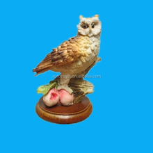 vintage resin composite horned owl figurine fruit branch leaves detail