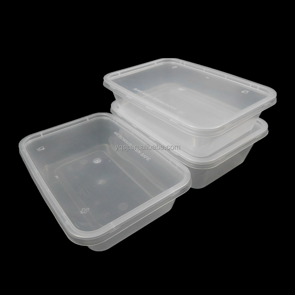 650ml Disposable Rectangle Clear Plastic Takeaway Microwave Fast Food Container With Lid