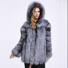 Winter Long Style Silver Fox Fur Coat Hooded Women Natural Fur Jacket Overcoats