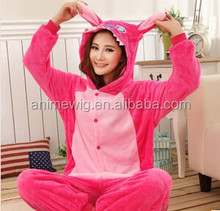 Wholesale Kartoon Flannel Unisex Adult Rose Stitch Sleepwear Animal Onesie Cosplay Halloween Costume Pajamas Sets