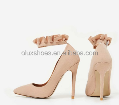 OLUX45 2017 fast Fashion Women Nude frill Suede High Heel Shoes design your own shoe china