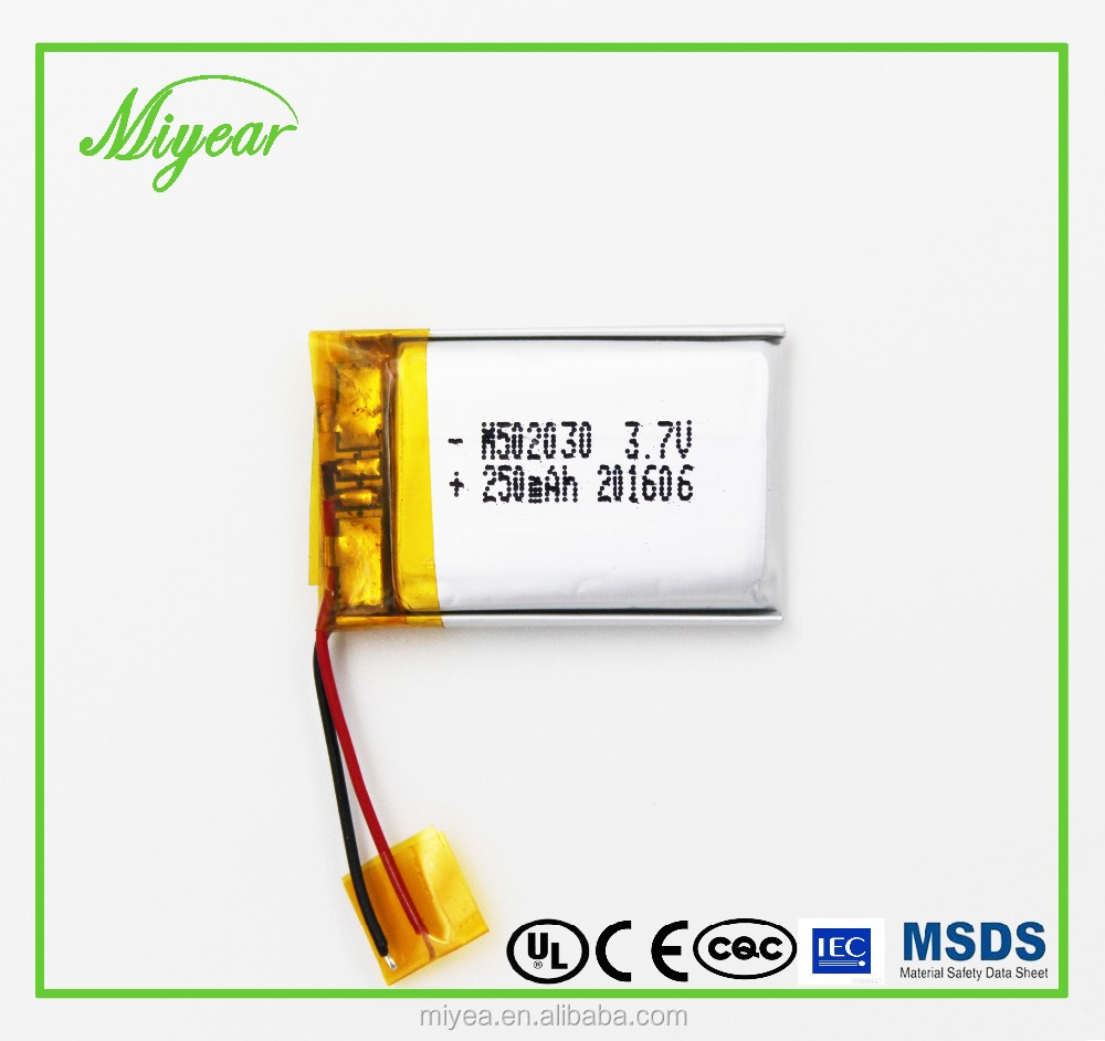 3.7V 250MAH Lithium Polymer/lipo/li-ion Battery From Shenzhen Miyea